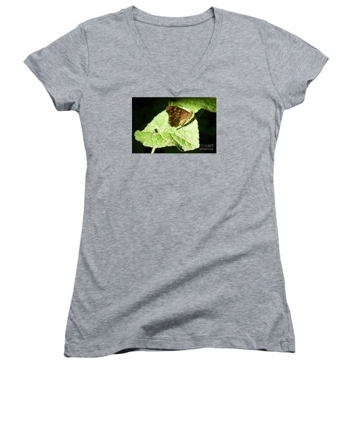 Women's V-Neck T-Shirt (Junior Cut) featuring the photograph Butterfly 2 by Jean Bernard Roussilhe