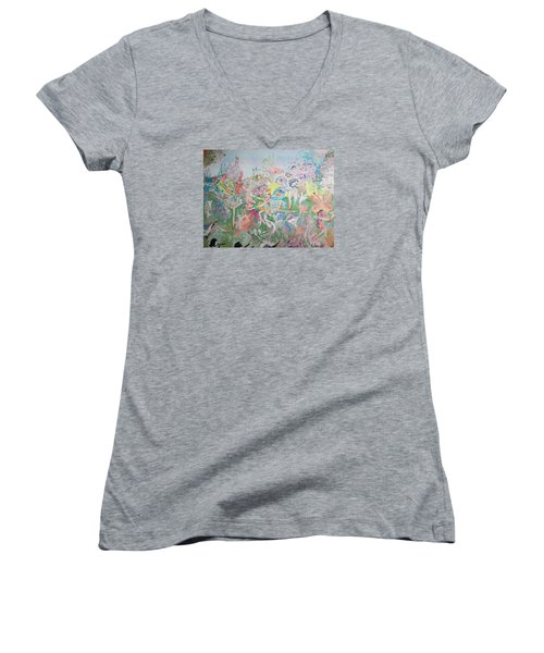 Butterfly Ballet Reflectance Women's V-Neck T-Shirt (Junior Cut) by Judith Desrosiers