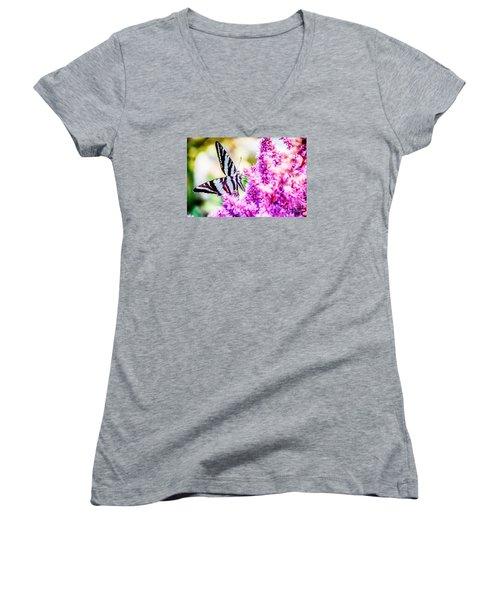 Butterfly Beautiful  Women's V-Neck T-Shirt (Junior Cut) by Peggy Franz