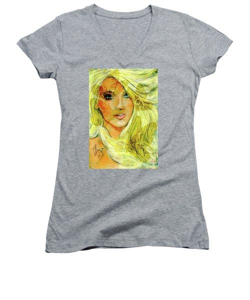 Butterfly Blonde Women's V-Neck T-Shirt (Junior Cut)