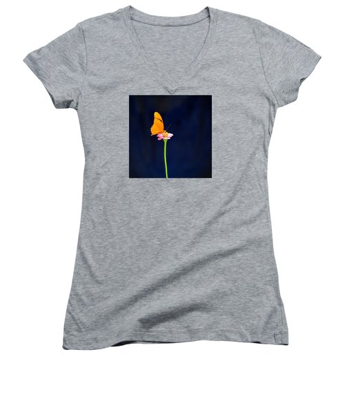 Butterfly Bloom Women's V-Neck T-Shirt (Junior Cut) by Mary Zeman