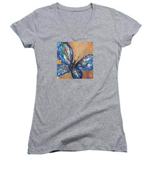 Butterfly Blue Women's V-Neck T-Shirt (Junior Cut)
