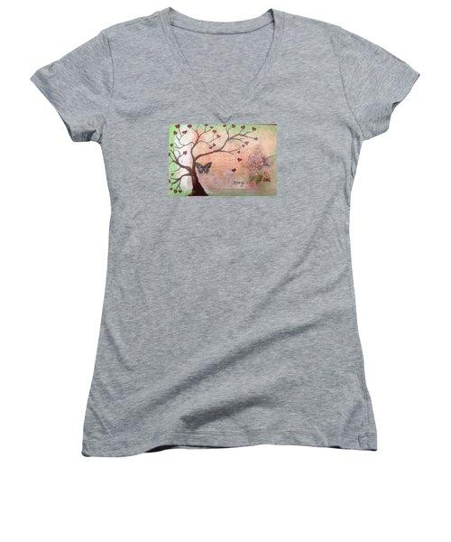 Butterfly Fairy Heart Tree Women's V-Neck T-Shirt (Junior Cut) by Roxy Rich