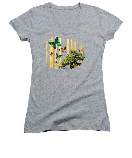 Women's V-Neck T-Shirt (Junior Cut) featuring the digital art Butterfly Garden by Jennifer Muller