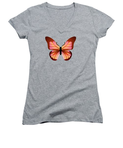 Butterfly Graphic Pink And Orange Women's V-Neck T-Shirt