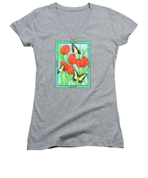 Butterfly Idyll-tulips Women's V-Neck (Athletic Fit)