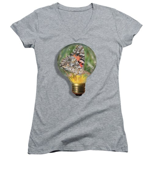 Butterfly In A Bulb II Women's V-Neck T-Shirt (Junior Cut) by Shane Bechler