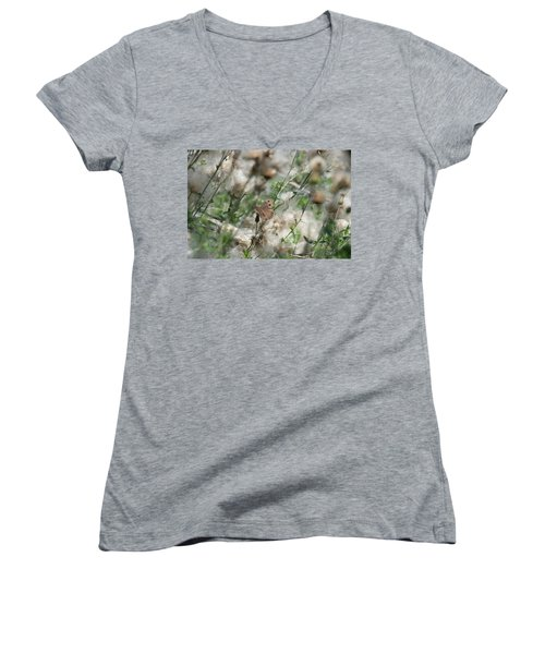 Butterfly In Puffy Seed Heads Women's V-Neck