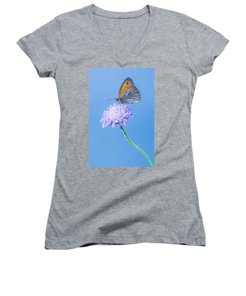 Women's V-Neck T-Shirt (Junior Cut) featuring the photograph Butterfly by Jaroslaw Grudzinski
