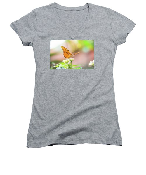 Butterfly - Julie Heliconian Women's V-Neck T-Shirt (Junior Cut) by Pamela Williams