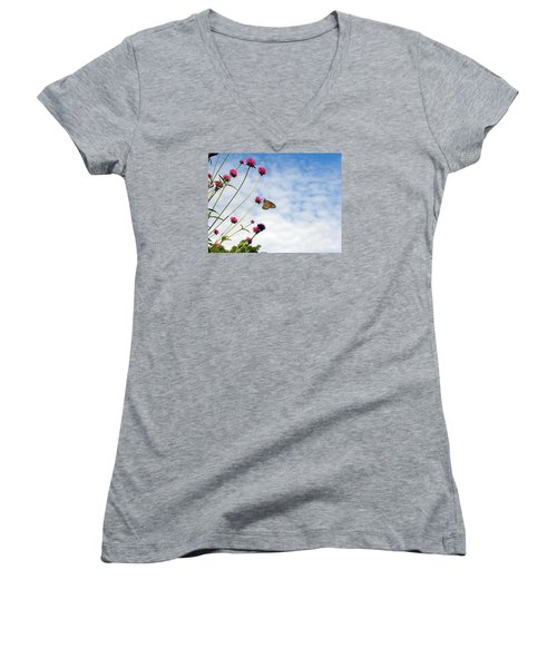 Women's V-Neck T-Shirt (Junior Cut) featuring the photograph Butterfly Magic by Teresa Schomig