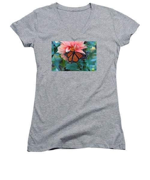 Butterfly On Dahlia Women's V-Neck