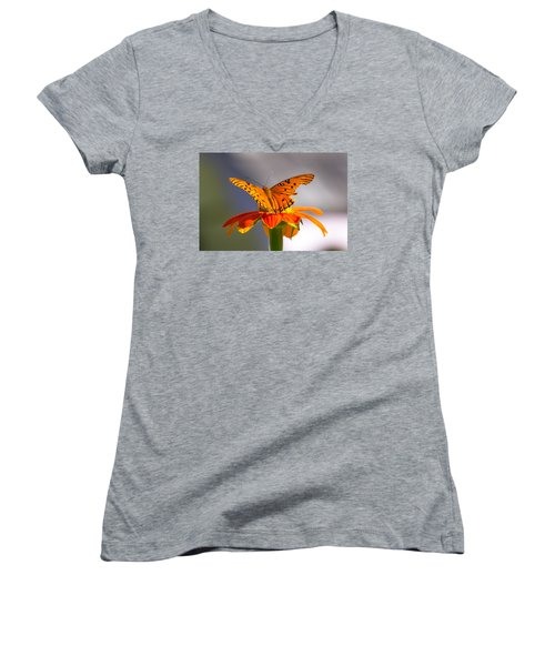 Butterfly On Flower Women's V-Neck (Athletic Fit)