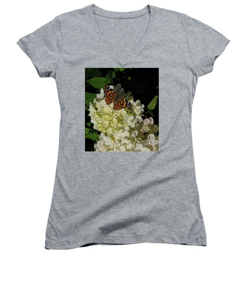 Butterfly On Hydrangea Women's V-Neck (Athletic Fit)