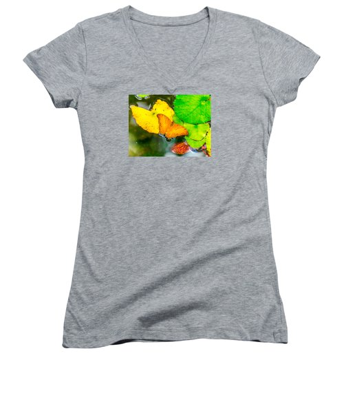 Butterfly On Lilies Women's V-Neck T-Shirt (Junior Cut) by Jerry Cahill