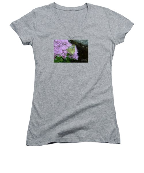 Butterfly On Mauve Flowers Women's V-Neck