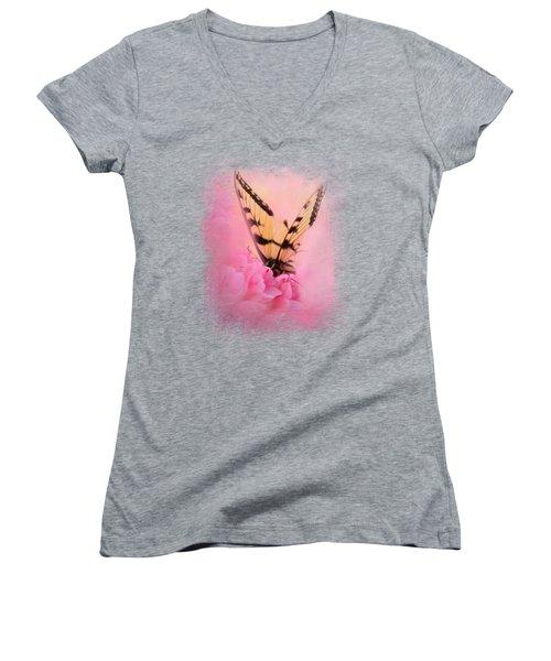 Butterfly On The Azaleas Women's V-Neck T-Shirt (Junior Cut) by Jai Johnson