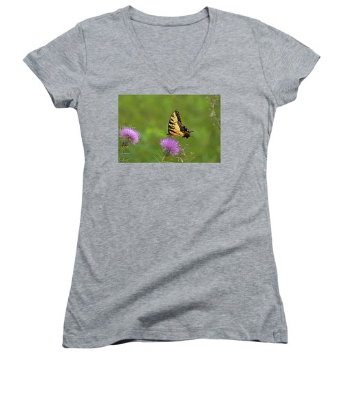 Women's V-Neck T-Shirt (Junior Cut) featuring the photograph Butterfly On Thistle by Sandy Keeton