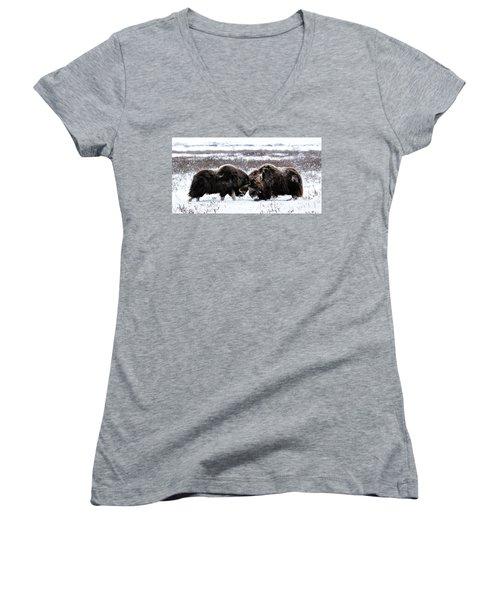 Butting Heads Women's V-Neck T-Shirt (Junior Cut)