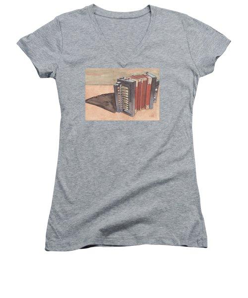Button Accordion Women's V-Neck T-Shirt