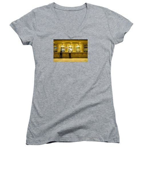 Women's V-Neck T-Shirt (Junior Cut) featuring the photograph Buying A Ticket by M G Whittingham