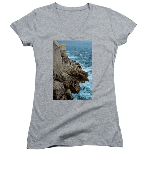 Buza Bar On The Adriatic In Dubrovnik Croatia Women's V-Neck (Athletic Fit)