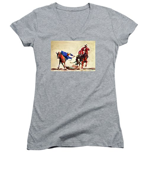 Buzkashi, A Power Game Women's V-Neck (Athletic Fit)