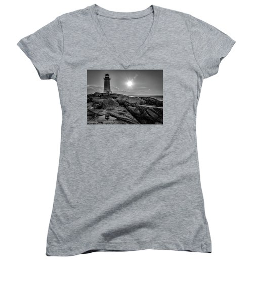 Bw Of Iconic Lighthouse At Peggys Cove  Women's V-Neck T-Shirt (Junior Cut) by Ken Morris