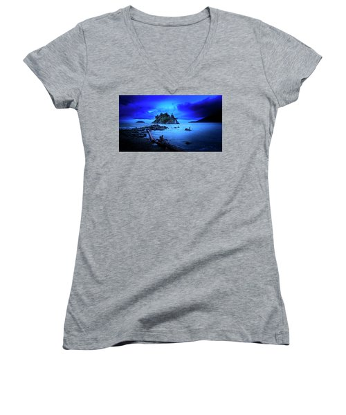 By The Light Of The Moon Women's V-Neck T-Shirt (Junior Cut) by John Poon