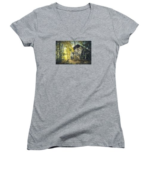 Women's V-Neck T-Shirt (Junior Cut) featuring the painting By The Old Paths by Rose-Maries Pictures