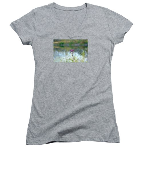Women's V-Neck T-Shirt (Junior Cut) featuring the photograph By The Pond by Lila Fisher-Wenzel