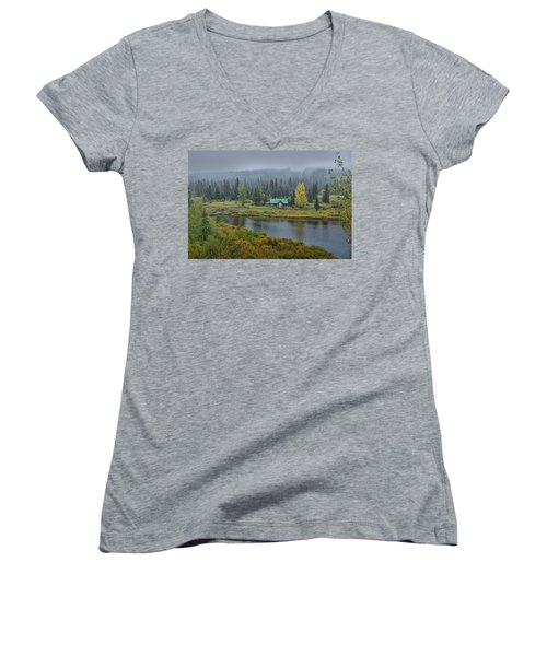 By The River Women's V-Neck T-Shirt