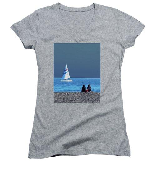 By The Sea Women's V-Neck T-Shirt (Junior Cut) by B Wayne Mullins