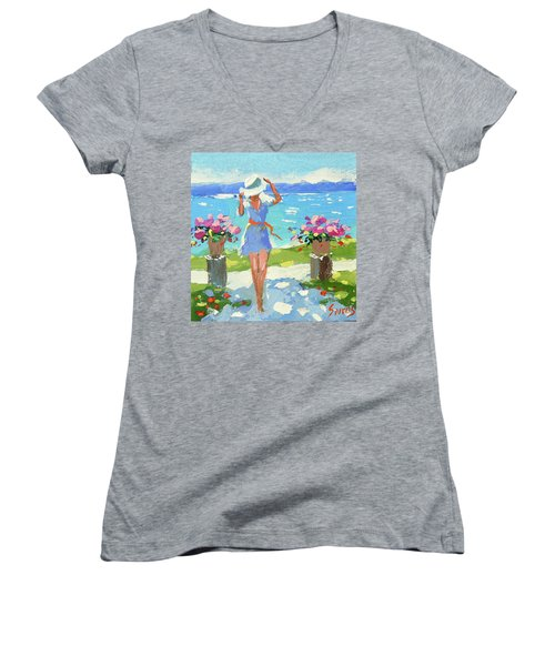 By The Sea  Women's V-Neck (Athletic Fit)
