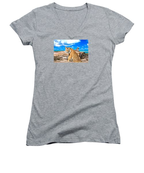 By The Sea Women's V-Neck T-Shirt (Junior Cut) by Judy Kay