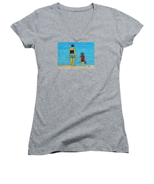 By The Sea Women's V-Neck T-Shirt (Junior Cut) by Reb Frost
