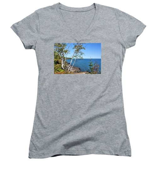 By The Shores Of Gitche Gumee Women's V-Neck (Athletic Fit)