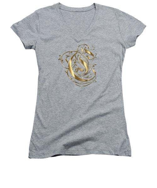 C Ornamental Letter Gold Typography Women's V-Neck T-Shirt (Junior Cut) by Georgeta Blanaru