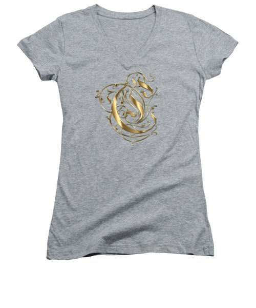 C Ornamental Letter Gold Typography Women's V-Neck T-Shirt