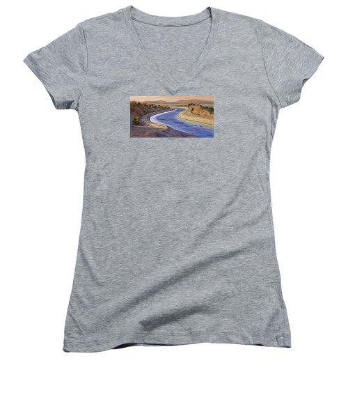 Ca Aqueduct 2 Women's V-Neck T-Shirt (Junior Cut) by Jane Thorpe