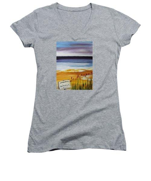Cabana Rental Women's V-Neck T-Shirt (Junior Cut) by Jack G  Brauer