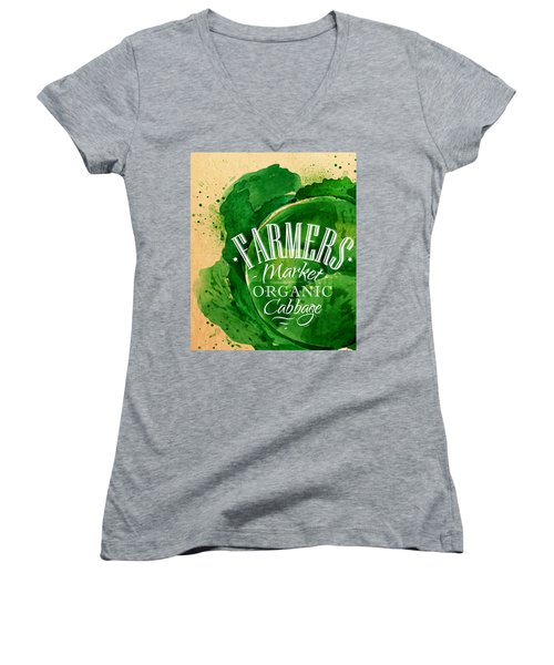 Cabbage Women's V-Neck T-Shirt (Junior Cut) by Aloke Creative Store