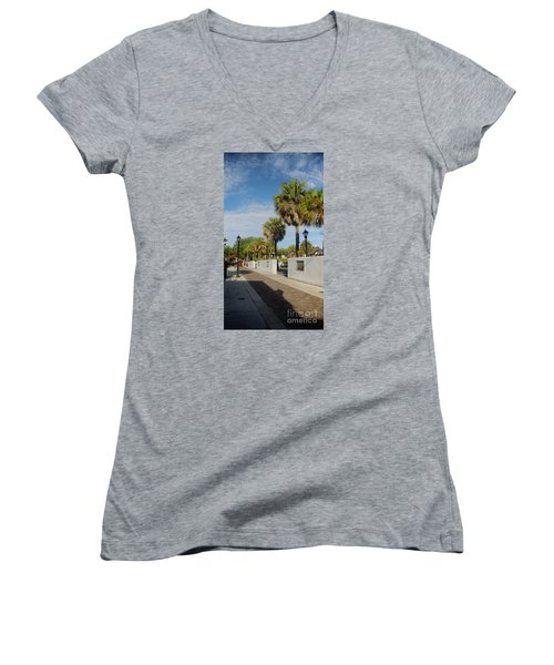 Cabbage Palms Along Hypolita Street Women's V-Neck (Athletic Fit)