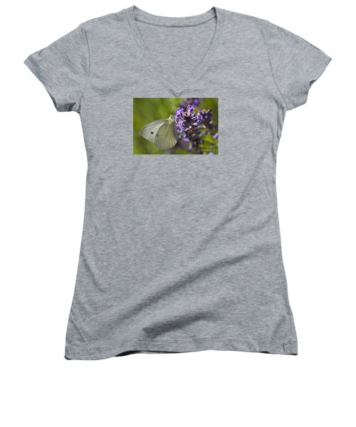 Women's V-Neck T-Shirt (Junior Cut) featuring the photograph Cabbage White Butterfly by Inge Riis McDonald