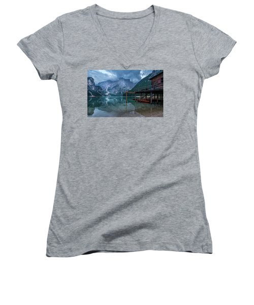 Cabin By The Lake Women's V-Neck