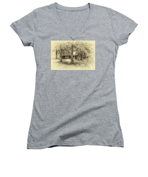 Women's V-Neck T-Shirt (Junior Cut) featuring the photograph Cabin In The Woods by Louis Ferreira