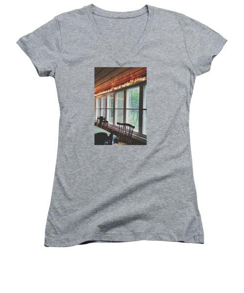 Cabin In The Woods Women's V-Neck T-Shirt (Junior Cut) by Nikki McInnes