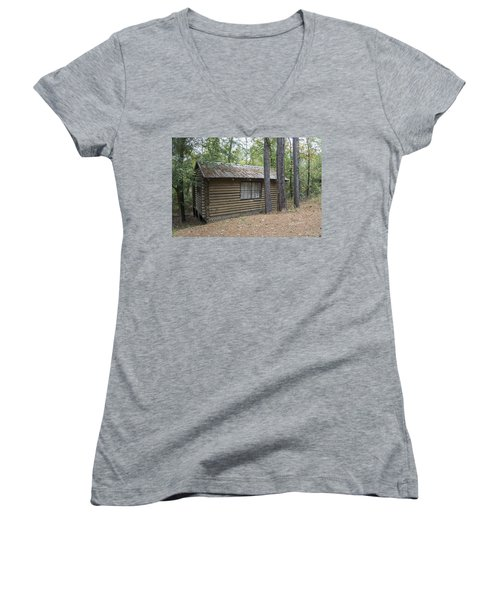 Cabin In The Woods Women's V-Neck T-Shirt (Junior Cut) by Ricky Dean