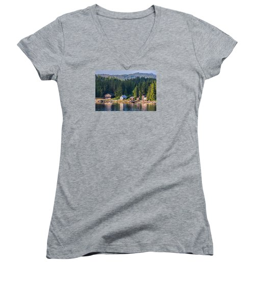 Women's V-Neck T-Shirt (Junior Cut) featuring the photograph Cabins On The Water by Lewis Mann
