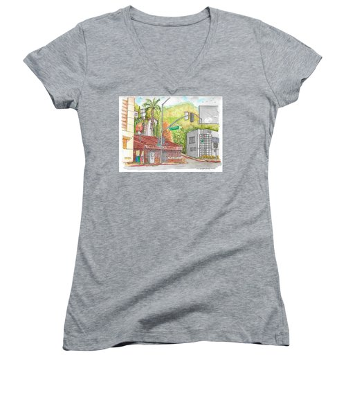 Cabo Cantina, Sunset Blvd And Sweetzer Ave., West Hollywood, California Women's V-Neck T-Shirt (Junior Cut) by Carlos G Groppa